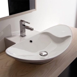 Oval-Shaped White Ceramic Wall Mounted or Vessel Sink Scarabeo 8201