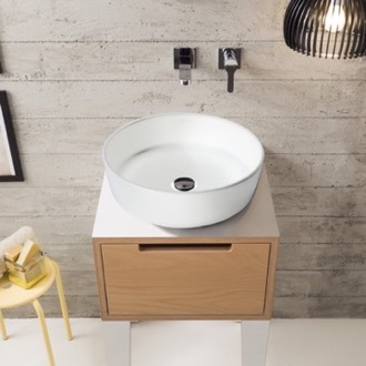 Bathroom Sink Round White Ceramic Vessel Sink Scarabeo 9005