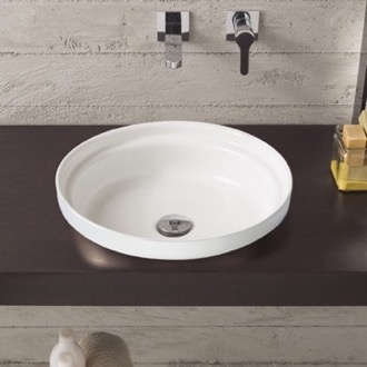 Bathroom Sink Round White Ceramic Self Rimming Sink Scarabeo 9006