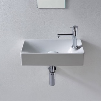 Perfect Bathroom Sink Rectangular Small White Ceramic Wall Mounted Or Vessel Sink  Scarabeo 1501