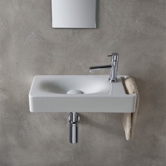 bathroom sink rectangular white ceramic wall mounted sink with towel holder scarabeo