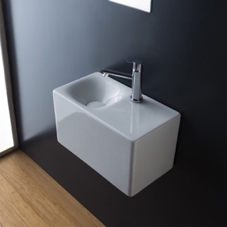Bathroom Sink Rectangular White Ceramic Wall Mounted or Vessel Sink Scarabeo 1522