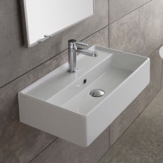 Bathroom Sink Rectangular White Ceramic Wall Mounted or Vessel Sink Scarabeo 5001
