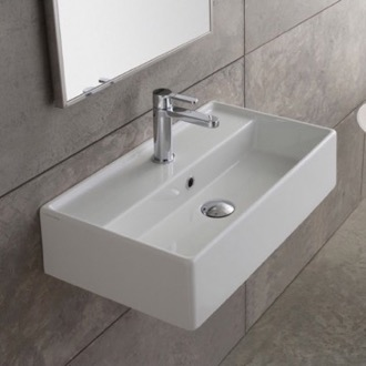 Bathroom Sink Rectangular White Ceramic Wall Mounted or Vessel Sink Scarabeo 5002
