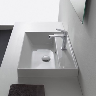 Bathroom Sink Square White Ceramic Self Rimming Sink Scarabeo 5108