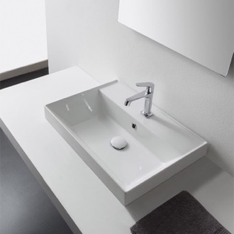 Bathroom Sink Rectangular White Ceramic Self Rimming Sink Scarabeo 5109