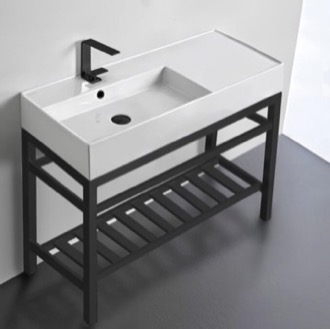 Modern Ceramic Console Sink With Counter Space and Matte Black Base Scarabeo 5119-CON2-BLK