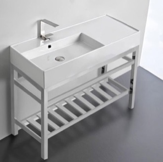 Modern Ceramic Console Sink With Counter Space and Chrome Base Scarabeo 5119-CON2