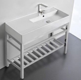 Modern Ceramic Console Sink With Counter Space and Chrome Base Scarabeo 5120-CON2