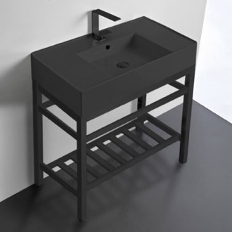 Modern Matte Black Ceramic Console Sink and Matte Black Base Scarabeo 5123-49-CON2-BLK
