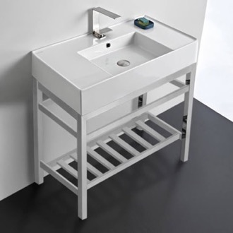 Modern Ceramic Console Sink With Counter Space and Chrome Base Scarabeo 5123-CON2