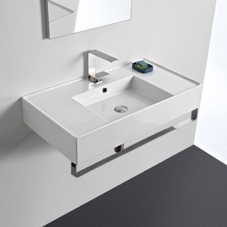 Rectangular Ceramic Wall Mounted Sink With Counter Space, Includes Towel Bar Scarabeo 5123-TB