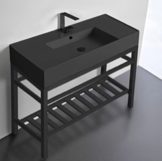 Modern Matte Black Ceramic Console Sink and Matte Black Base Scarabeo 5124-49-CON2-BLK