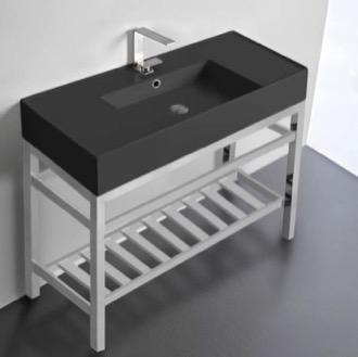 Modern Matte Black Ceramic Console Sink and Polished Chrome Base Scarabeo 5124-49-CON2