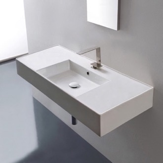 Bathroom Sink Rectangular Ceramic Wall Mounted or Vessel Sink With Counter Space Scarabeo 5124
