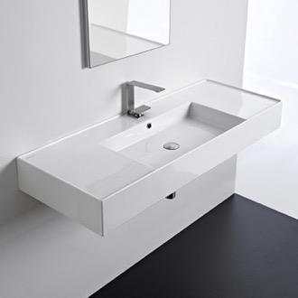 Rectangular Ceramic Wall Mounted or Vessel Sink With Counter Space Scarabeo 5125