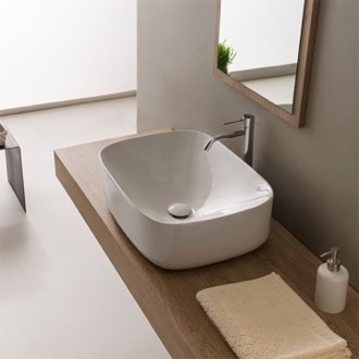 Round White Ceramic Vessel Bathroom Sink Scarabeo 5501