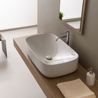 Oval White Ceramic Vessel Bathroom Sink Scarabeo 5502