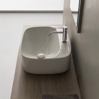 Oval White Ceramic Vessel Bathroom Sink Scarabeo 5504