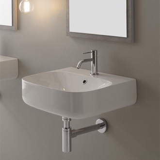 Charmant Round White Ceramic Wall Mounted Sink Scarabeo 5507