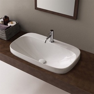 Bathroom Sink Oval White Ceramic Self Rimming Sink Scarabeo 5512