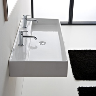 Bathroom Sink Rectangular White Ceramic Wall Mounted or Vessel Sink 8031/R-120 Scarabeo 8031/R-120