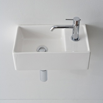 Square White Ceramic Wall Mounted or Vessel Sink Scarabeo 8031/R-41
