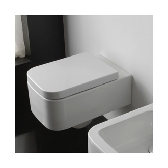 Toilet Round White Ceramic Wall Hung Toilet Scarabeo 8301