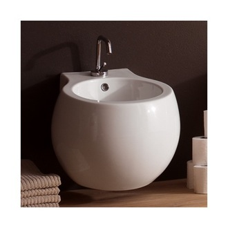 Stylish Round Ceramic Wall Mounted Bidet Scarabeo 8106