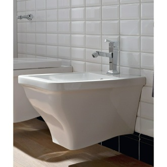 Bidet White Ceramic Wall Mounted Round Bidet Scarabeo 4007