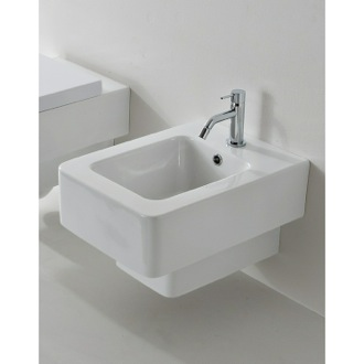 Bidet Square White Ceramic Wall Mounted Round Bidet Scarabeo 8702