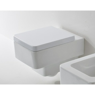 White Ceramic Square Wall Mounted Toilet Scarabeo 8701