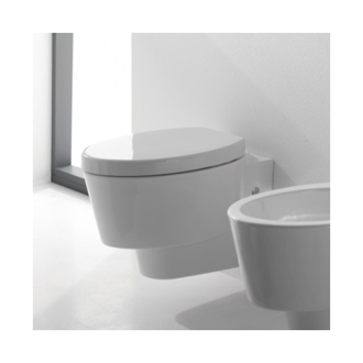 Round White Ceramic Wall Hung Toilet Scarabeo 2006
