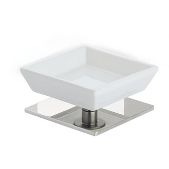 Soap Dish Square White Ceramic Soap Holder with Brass Base StilHaus 616