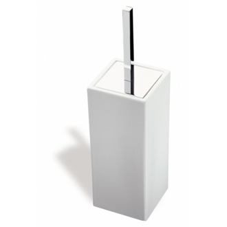 Square White Ceramic Toilet Brush Holder StilHaus 633