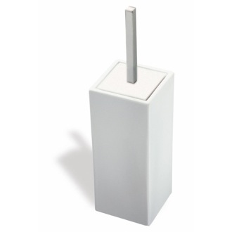 White Ceramic Toilet Brush Holder with Satin Nickel Handle StilHaus 633-36