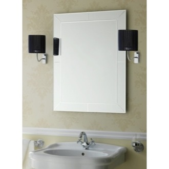 Vanity Mirror Rectangular Wall Mounted Bevelled and Engraved Mirror StilHaus 968