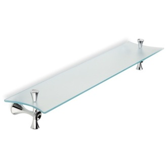 Frosted Glass Bathroom Shelf with Chrome Holders StilHaus CA04-08