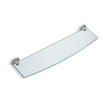 Bathroom Shelf Clear Glass Bathroom Shelf with Satin Nickel Brass Holder StilHaus DI04-36