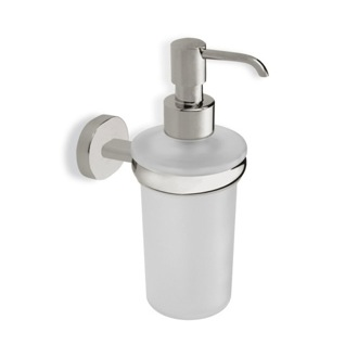 Soap Dispenser Satin Nickel Frosted Glass Soap Dispenser with Brass Mounting StilHaus DI30-36