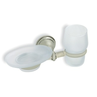 Toothbrush Holder Satin Nickel Classic Style Wall Mounted Glass Soap Dish and Tumbler StilHaus EL14-36