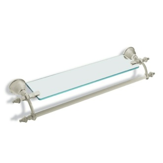 Bathroom Shelf Satin Nickel 24 Inch Bathroom Shelf with Transparent Glass Pane and Towel Bar StilHaus EL33-36