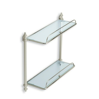 Bathroom Shelf Satin Nickel Double Glass Bathroom Shelf StilHaus EL694-36