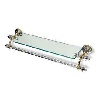 Bathroom Shelf Classic-Style Clear Glass Bathroom Shelf with Towel Bar StilHaus G33
