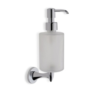 Soap Dispenser Wall Mounted Round Frosted Glass Soap Dispenser with Chrome Mounting StilHaus H30-08
