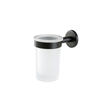 Toothbrush Holder Wall Mounted Frosted Glass Toothbrush Holder with Black Brass StilHaus ME10-23