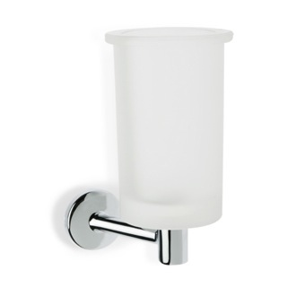 Toothbrush Holder Wall Mounted Frosted Glass Toothbrush Holder with Brass StilHaus P10-08