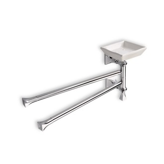 Swivel Towel Bar 17 Inch Chrome and White Swivel Double Towel Bar with Soap Dish PR18-08 StilHaus PR18-08
