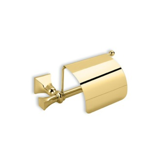 Toilet Paper Holder Classic Gold Brass Toilet Roll Holder with Cover PR11C-16 StilHaus PR11C-16