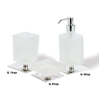 Bathroom Accessory Set Quid Frosted Glass with Chrome Base Bathroom Accessory Set Q100 StilHaus Q100
